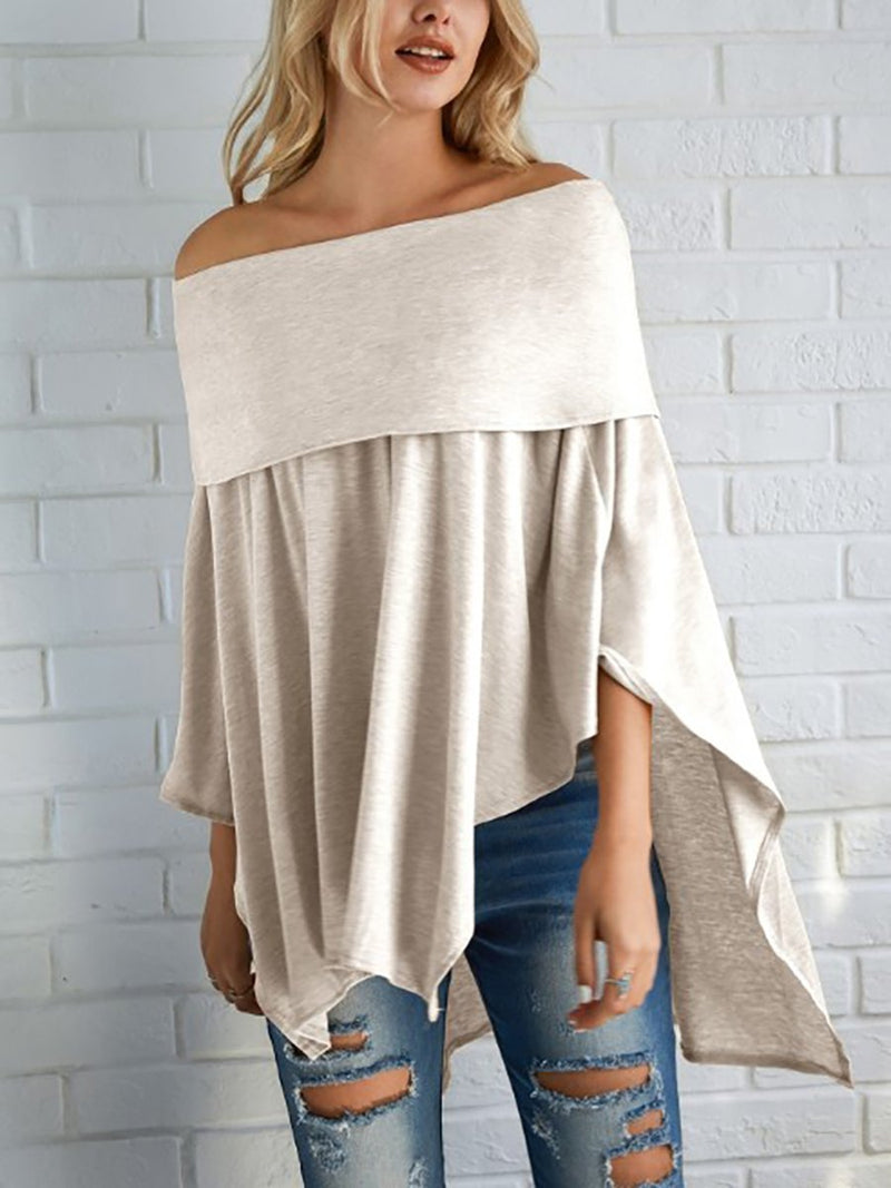 Off Shoulder  Asymmetric  Sleeve Long Sleeve T-Shirts