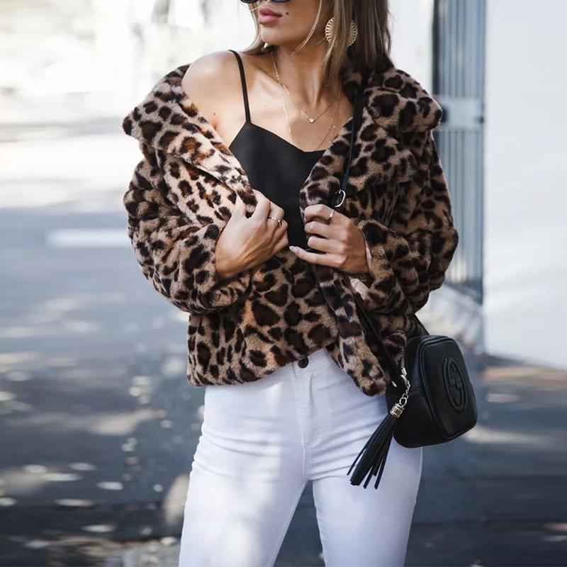 Fashion Long Sleeve Leopard Printed Fur Coats