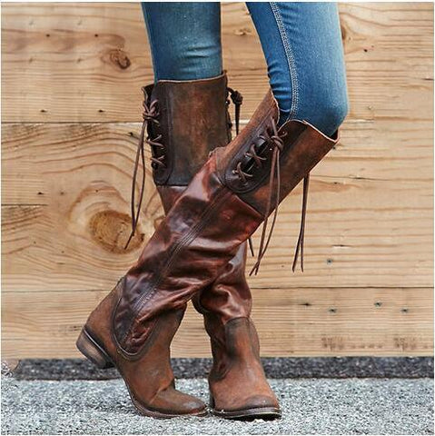 007eaa3cf74 Vintage Style Women Large Size Lace-Up Zipper Mid-Calf Boots