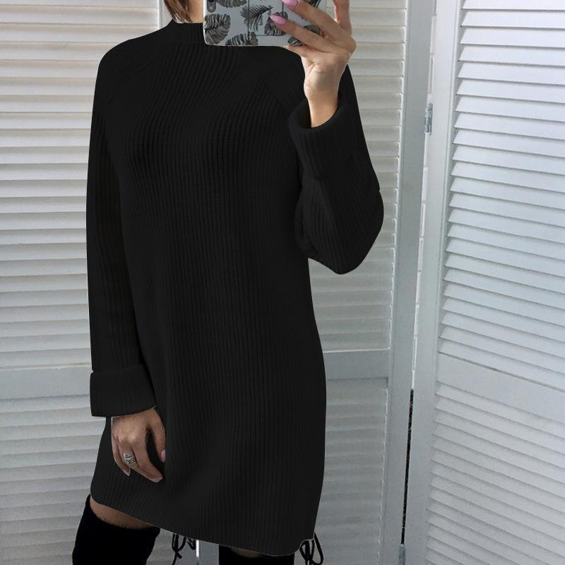 Pure Color Sexy Turtleneck Long Sleeve Sweater Mini Dress