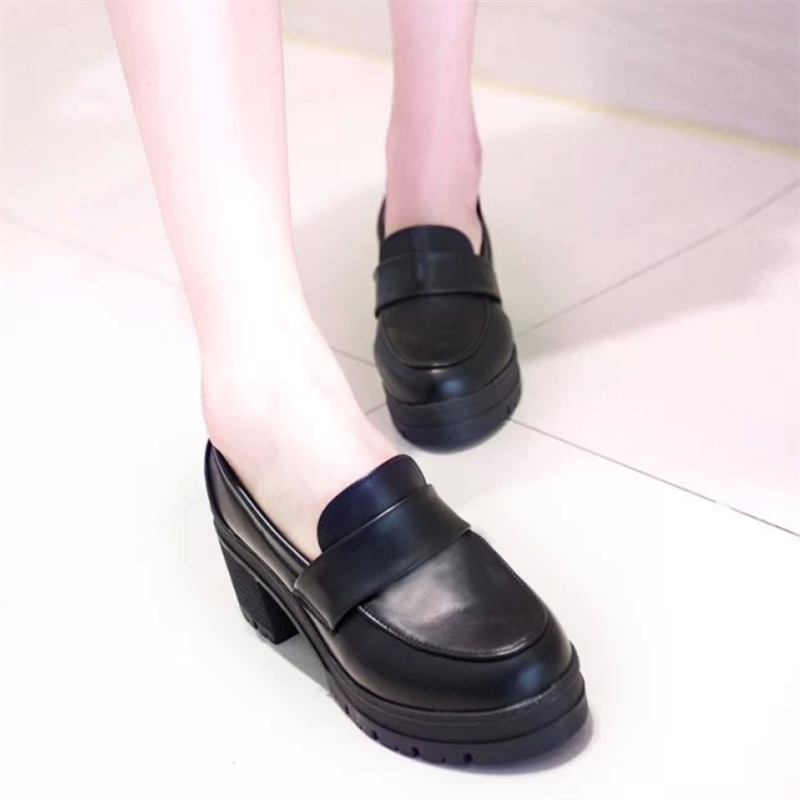 Pure Color High Heeled Round Head Casual Shoes