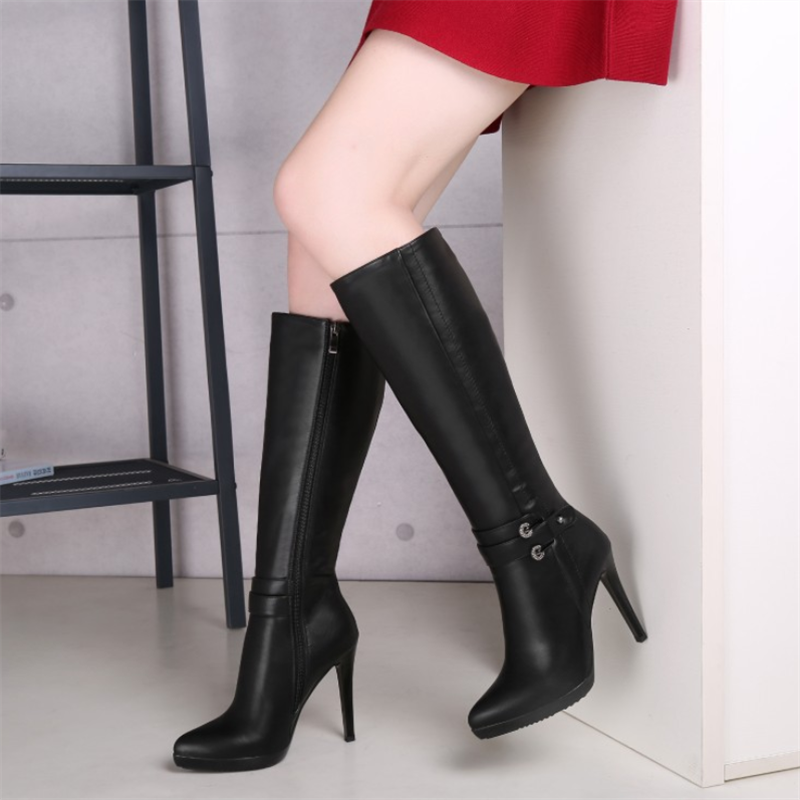 Fashion Pure Color High Cylinder High Heeled Boots