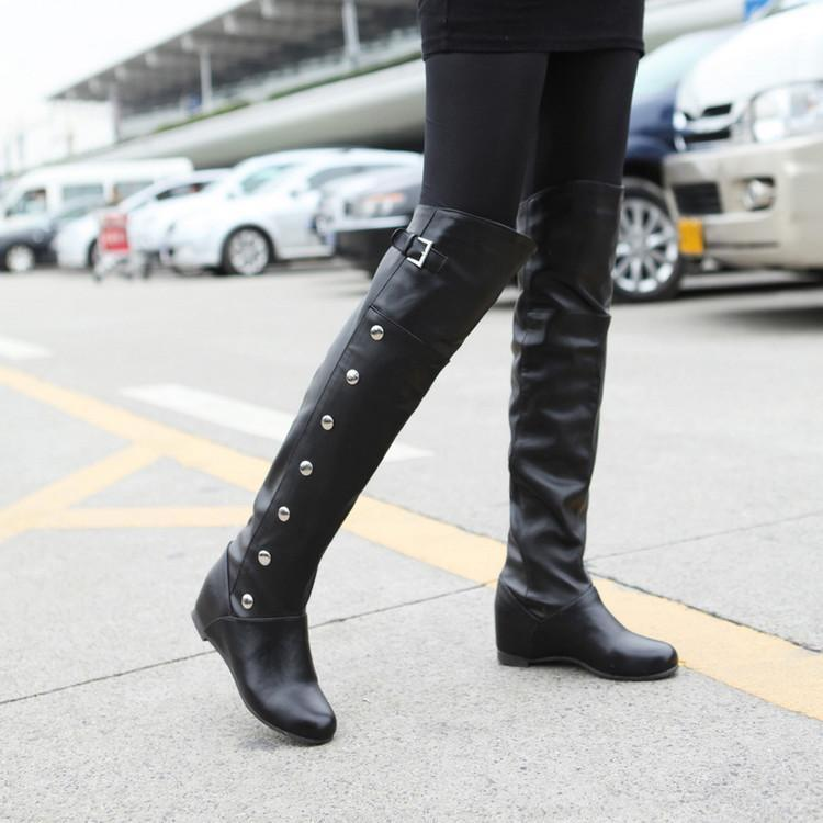 Fashion Pure Color High Cylinder Low Heeled Over The Knee  Boot