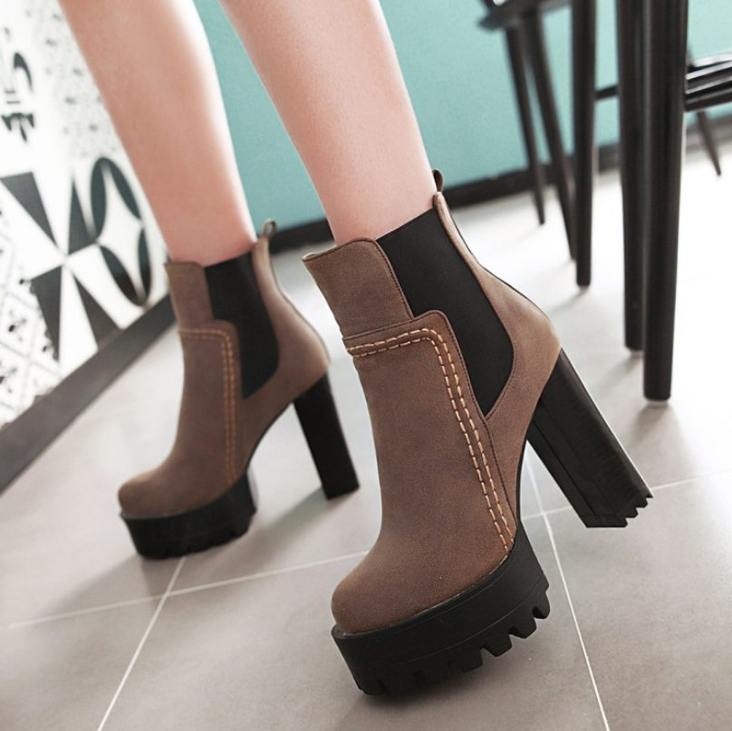 Pure Color Fashion High Heel Coarse Heel Boots