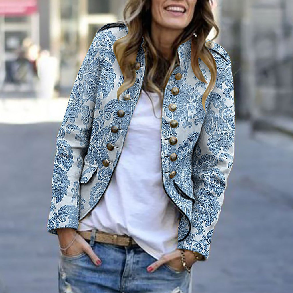 Fashion Print Long Sleeve Suit Cardigans