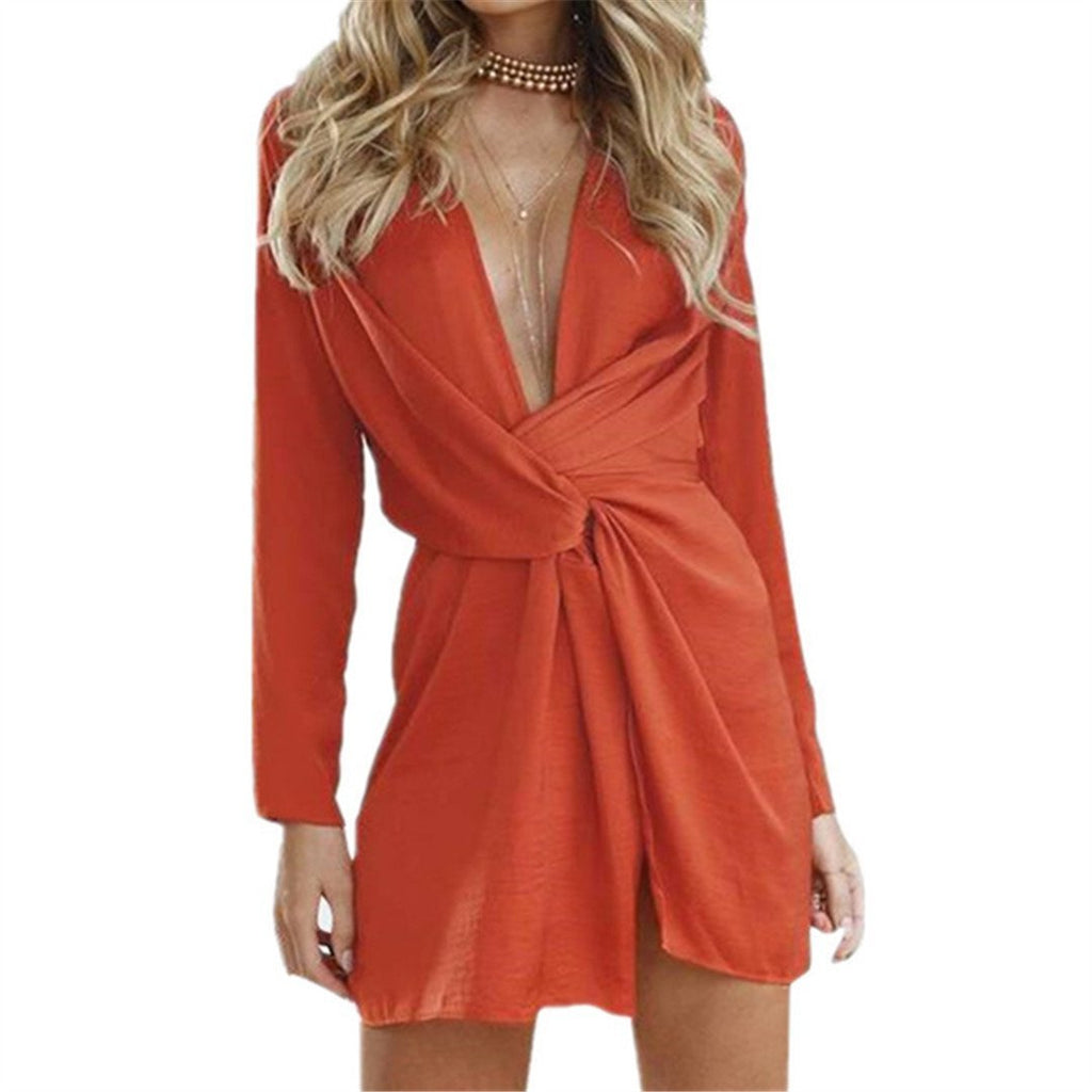 Sexy Solid Color V-Neck Long-Sleeved Dress
