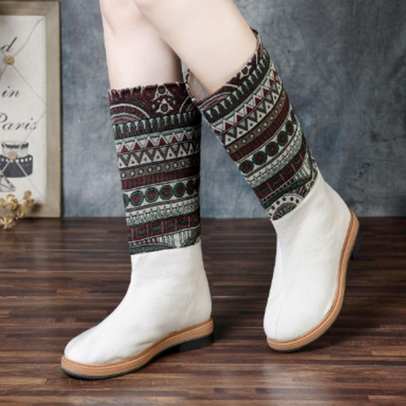 National Wind Embroidery High Round Head High Boots