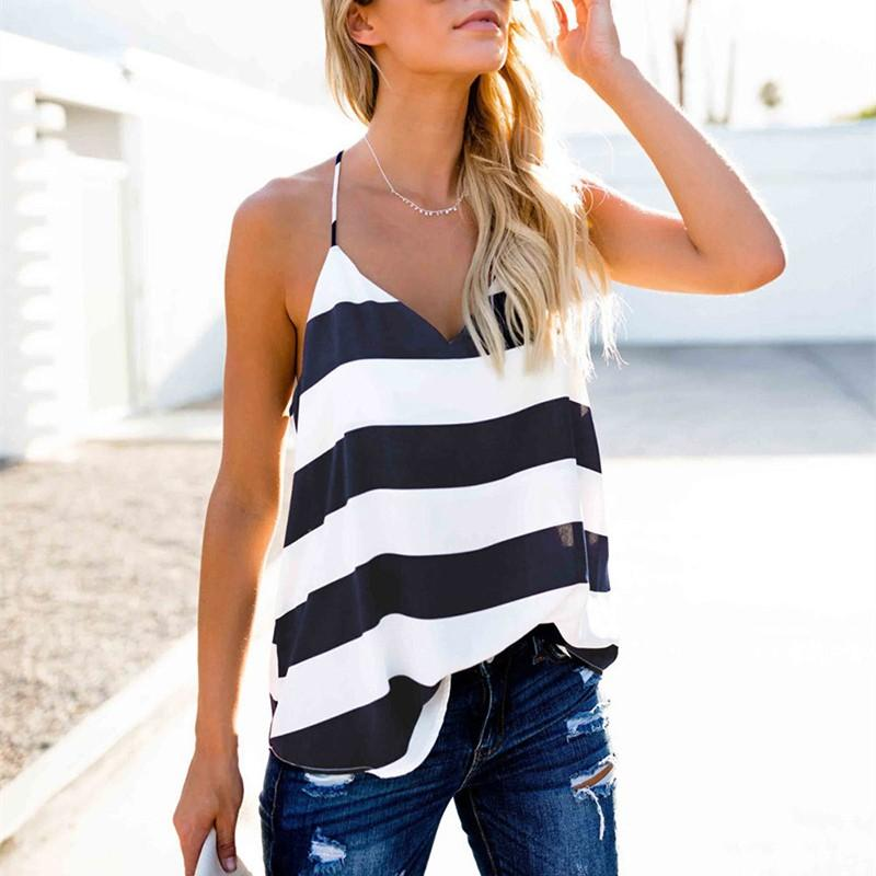 Casual Sexy V Neck Strips Vest Blouse