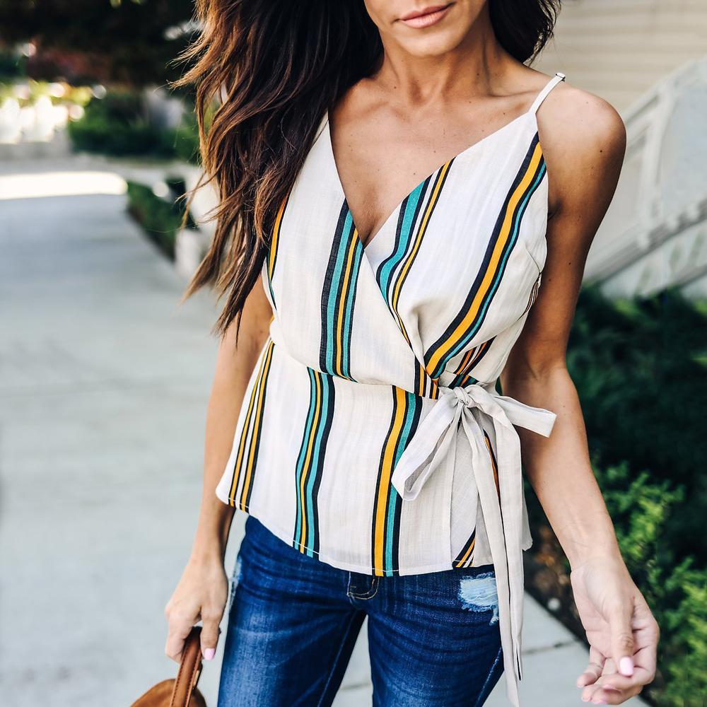 Casual Sexy V Neck Strips Sling Vest Blouse