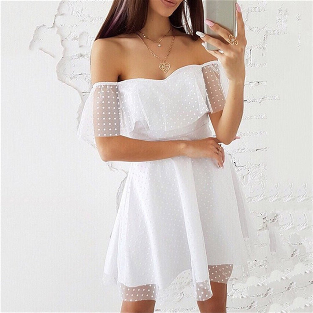 Sexy One Shoulder Lace Stitching Dress