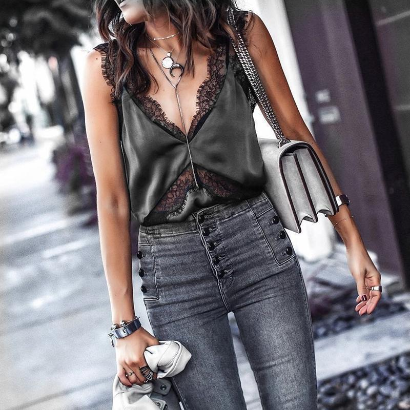Sexy V Neck Sleeveless Sling Vest