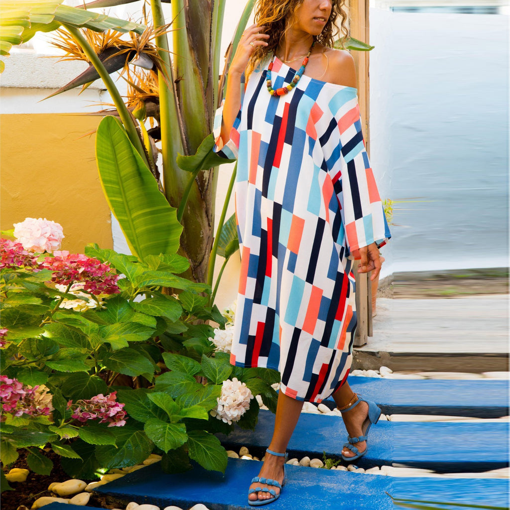 Casual Sexy Off The  Shoulder Slim Color Stripe Print Maxi Dress