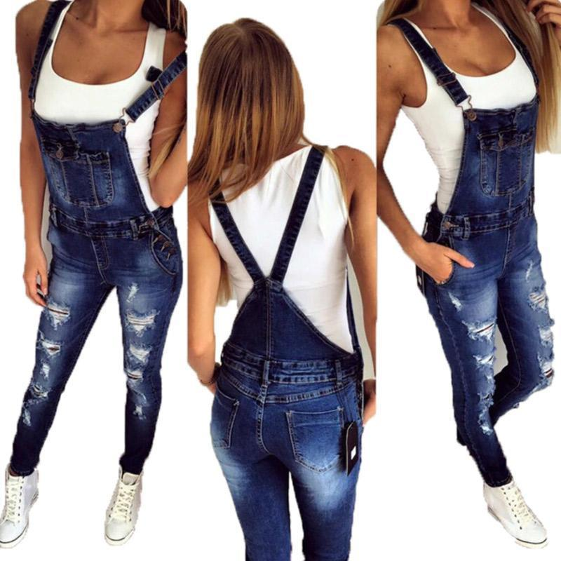 Women's Casual Shoulder Strap Denim Jeans Jumpsuit