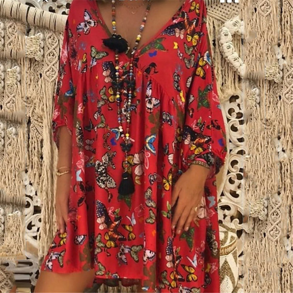 Casual V Collar Floral Printed Loose Vacation Dress
