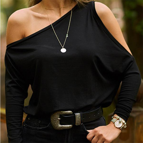 Fashion Pure Color Sloping Shoulder T Shirt