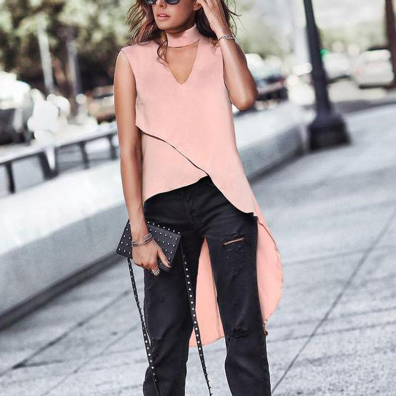Commuting Chiffon V Neck Irregular Blouse