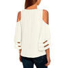 V Neck Strapless Shoulder Patchwork T-Shirt