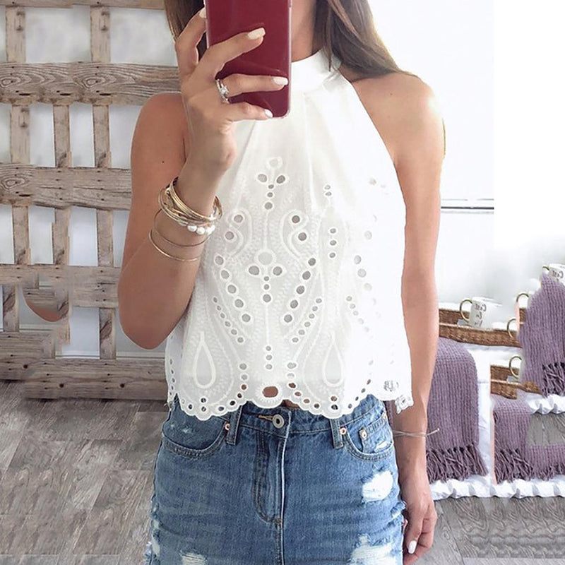 Sexy Off-Shoulder Sleeveless Hollow Out Belted Blouse