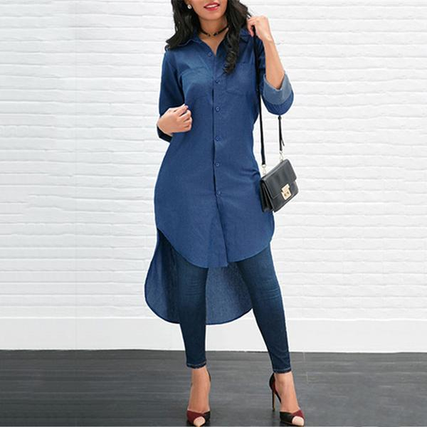 Fashion Lapel Irregular Shirt Casual Dresses