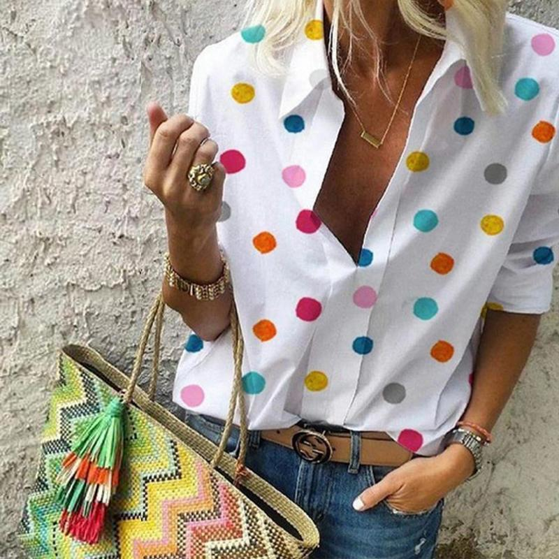 Fashion Lapel Long Sleeve Dots Printed Blouses