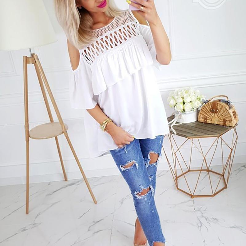 Commuting Hollow Out Splicing Off-Shoulder Pure Colour T-Shirt