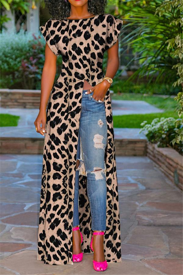 Fashion  Sleeve High Slit Zipper Leopard Print Sexy Blouse