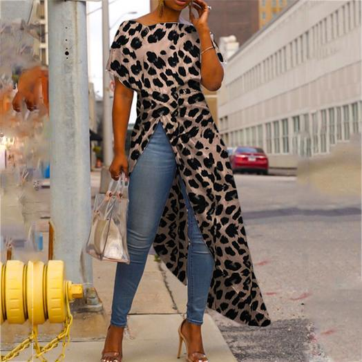 Casual Fashion Round Collar Short Sleeve High Slit Zipper Leopard Print Sexy Blouse