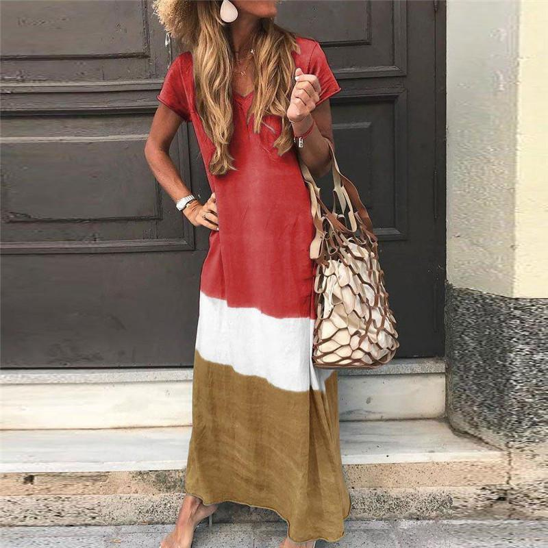 Ankle-Length Short Sleeve V-Neck Pullover Casual Dress