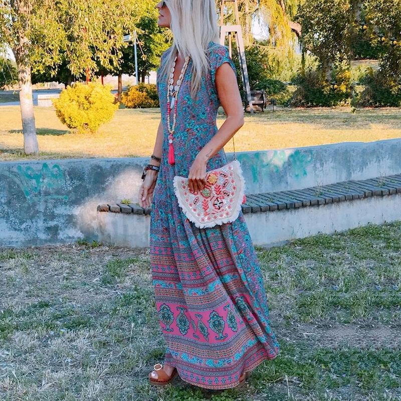 Bohemian V Neck Short Sleeve Floral Pattern Loose Casual Maxi Vacation Dress