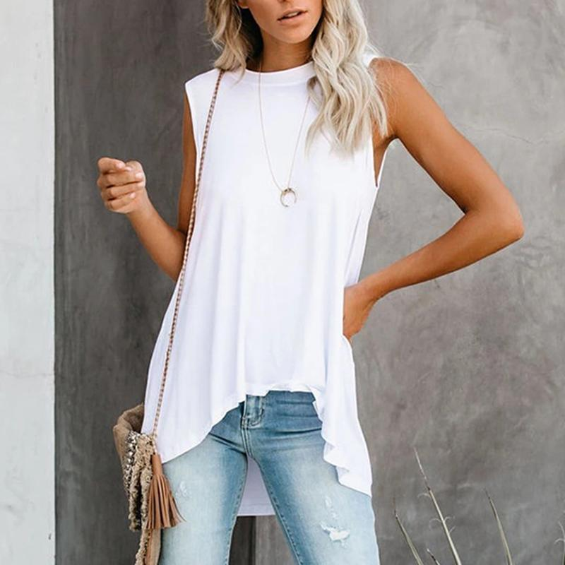 Brief Sleeveless Irregular  Top