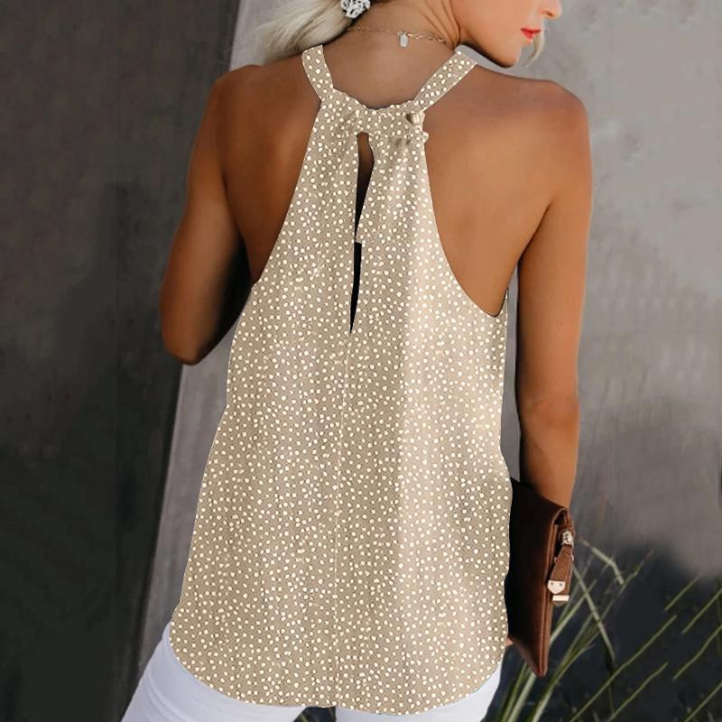 Casual Printed Halter Back Hole Vest