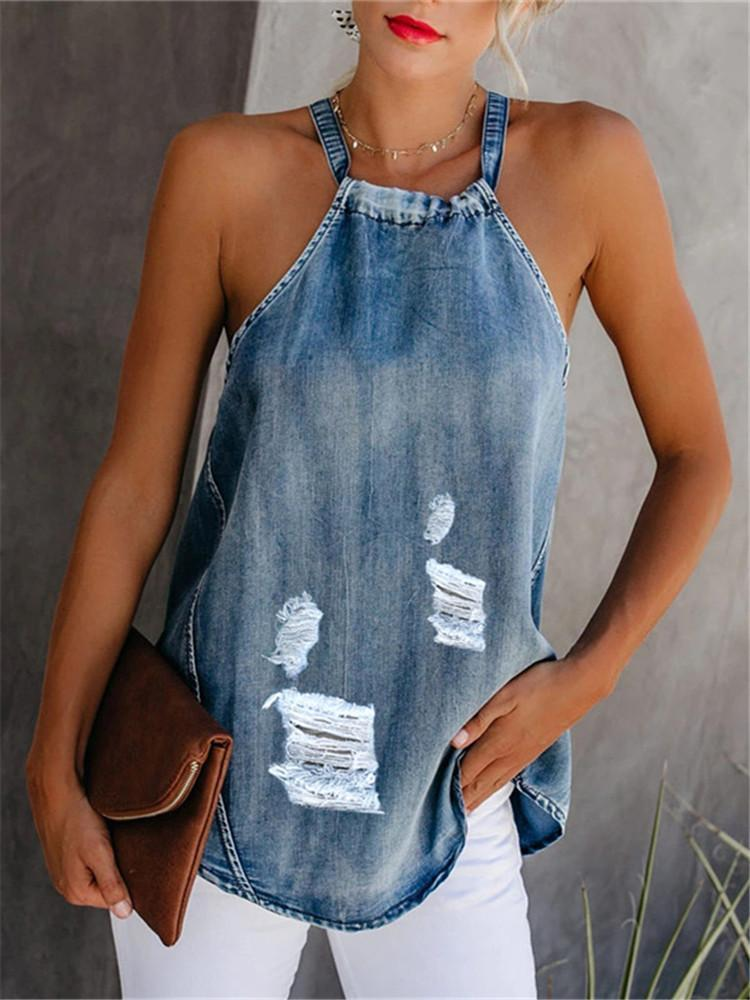 Casual Denim Frayed Hole Halter Camis
