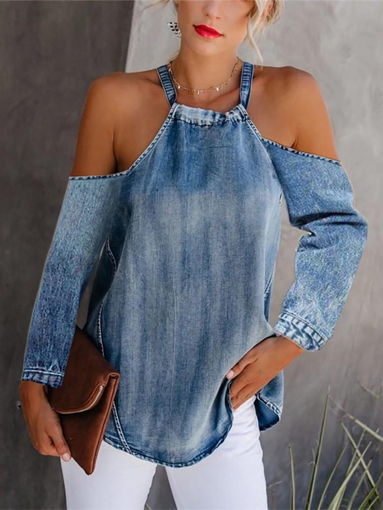 Women's Off Shoulder Long Sleeve Denim T-Shirt