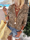 Fashion Long Sleeve Leopard Suit Collar Long Sleeve Shirt