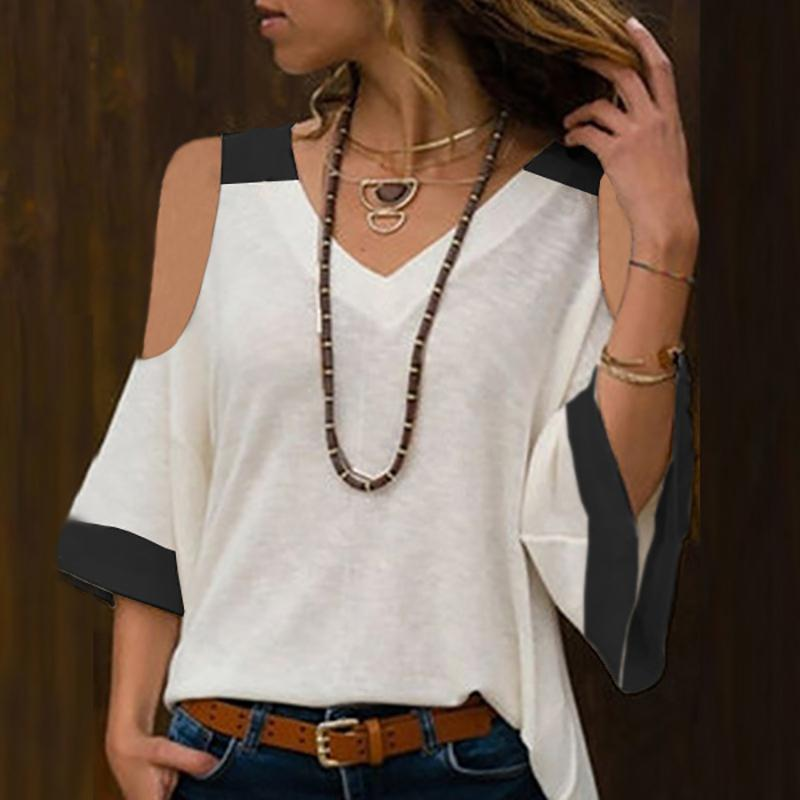 Commuting V Neck Middle Sleeve Loose T-Shirt