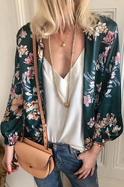 Fashion Printed Zipper Long Sleeve Jackets