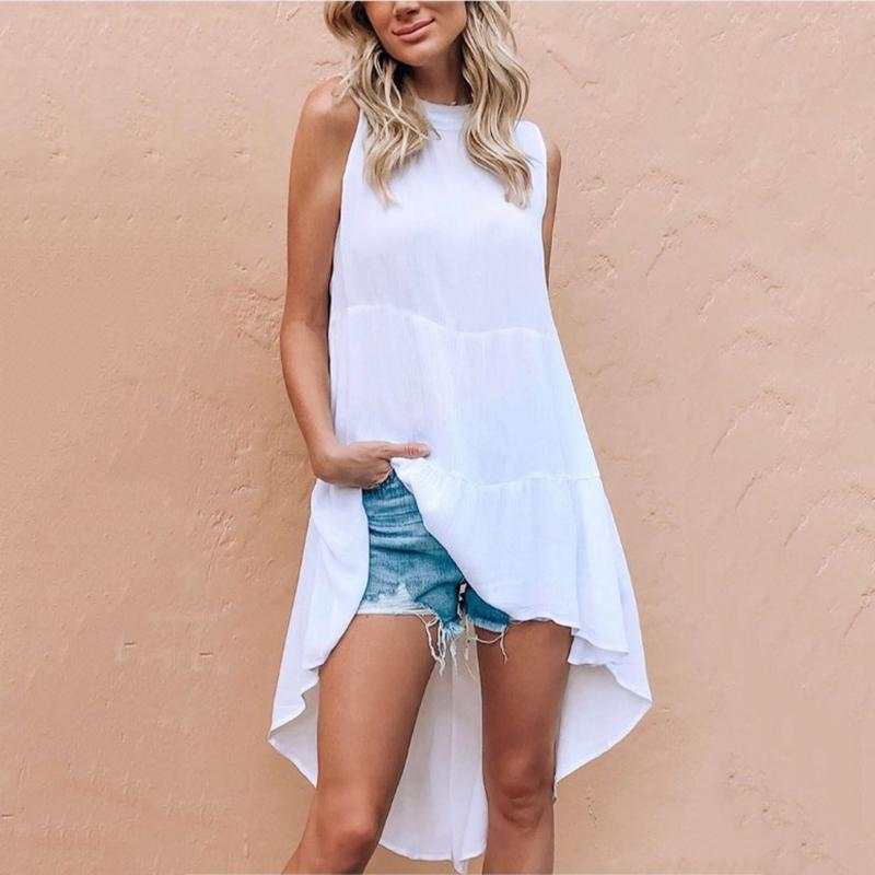 Brief High-Low Hem Sleeveless Loose Tank Top Dress