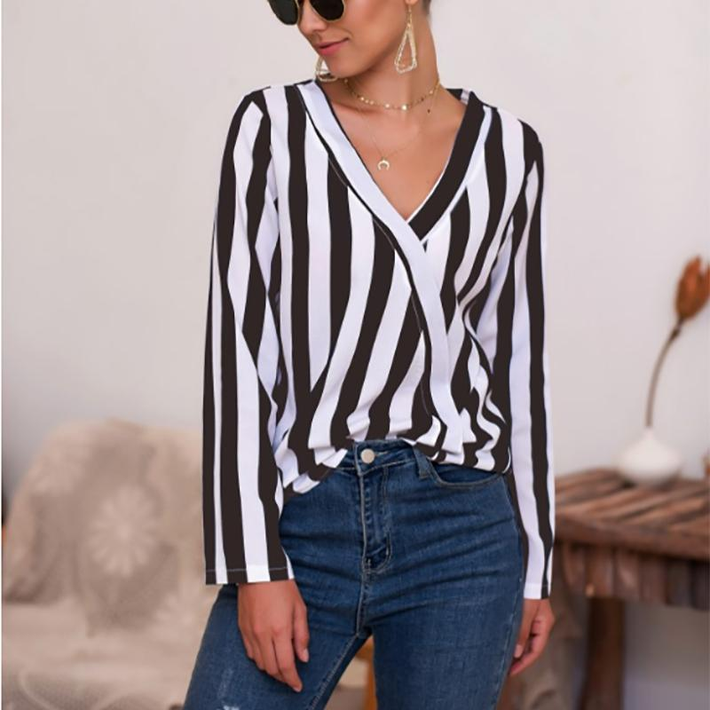 Individuality V Neck Striped Long Sleeve Blouse