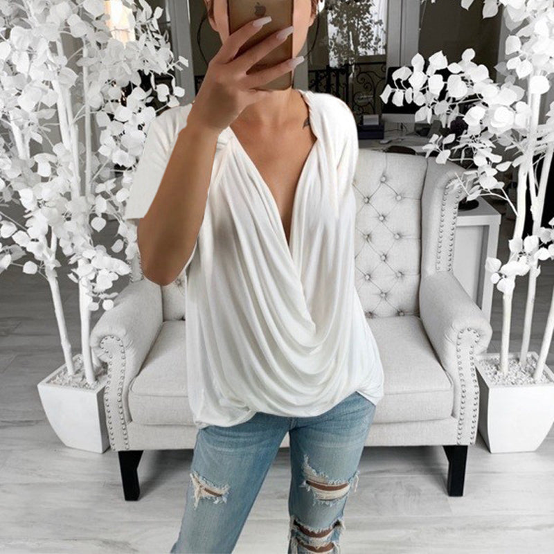 Fashion Deep V-Neck Solid Color Stitching Top