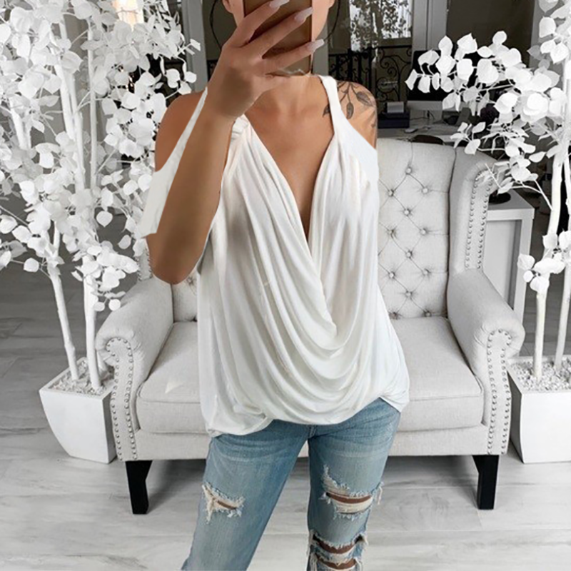 Women's Fashion Deep V Neck Pure Color Off-Shoulder Ruched Top