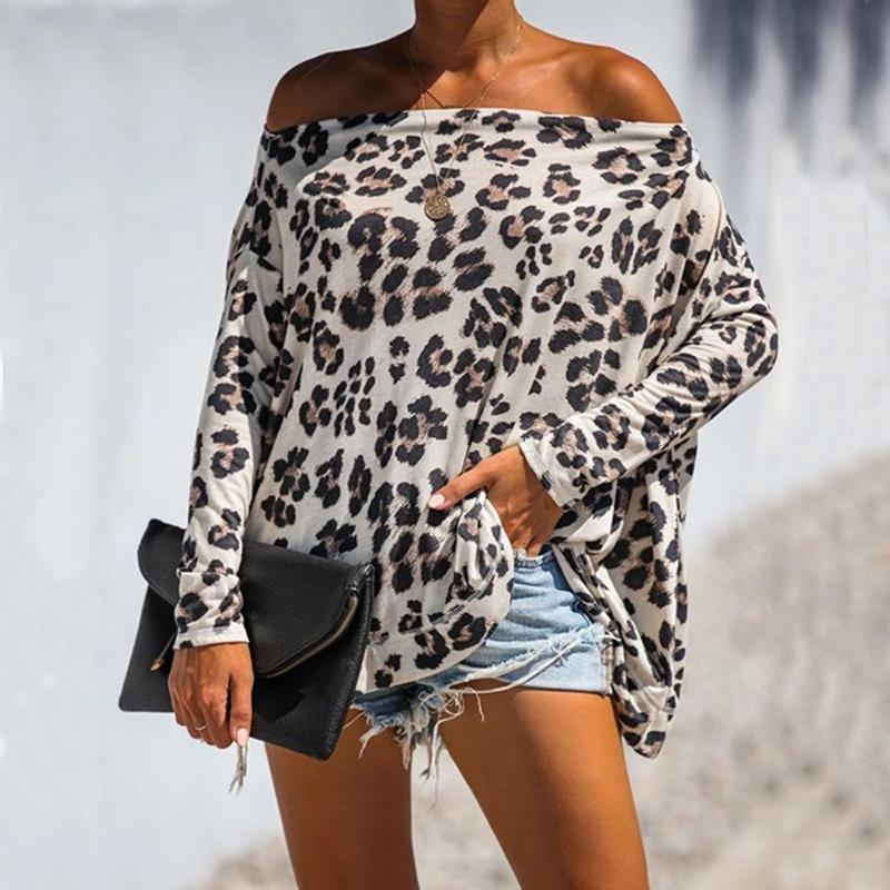 Leopard Print Boat Neck Loose Blouse