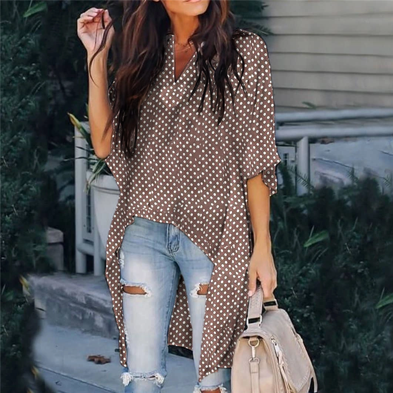 Fashion Casual V-Neck Polka Dot Half Sleeve Long Top