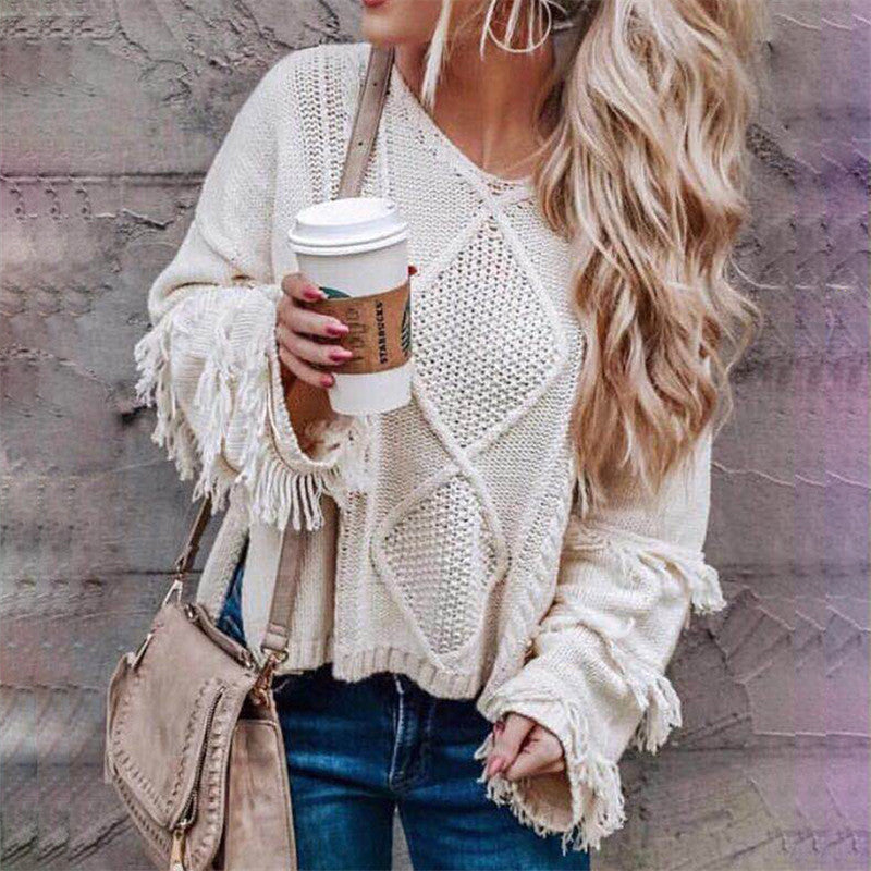 V-Neck Loose Fringed Hole Sweater