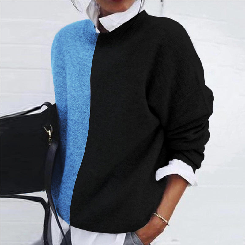Women's Fashion Round Neck Coloring Long Sleeve Sweater