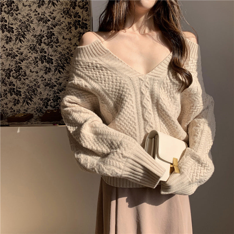 Women's V-neck loose long-sleeved twist pullover sweater