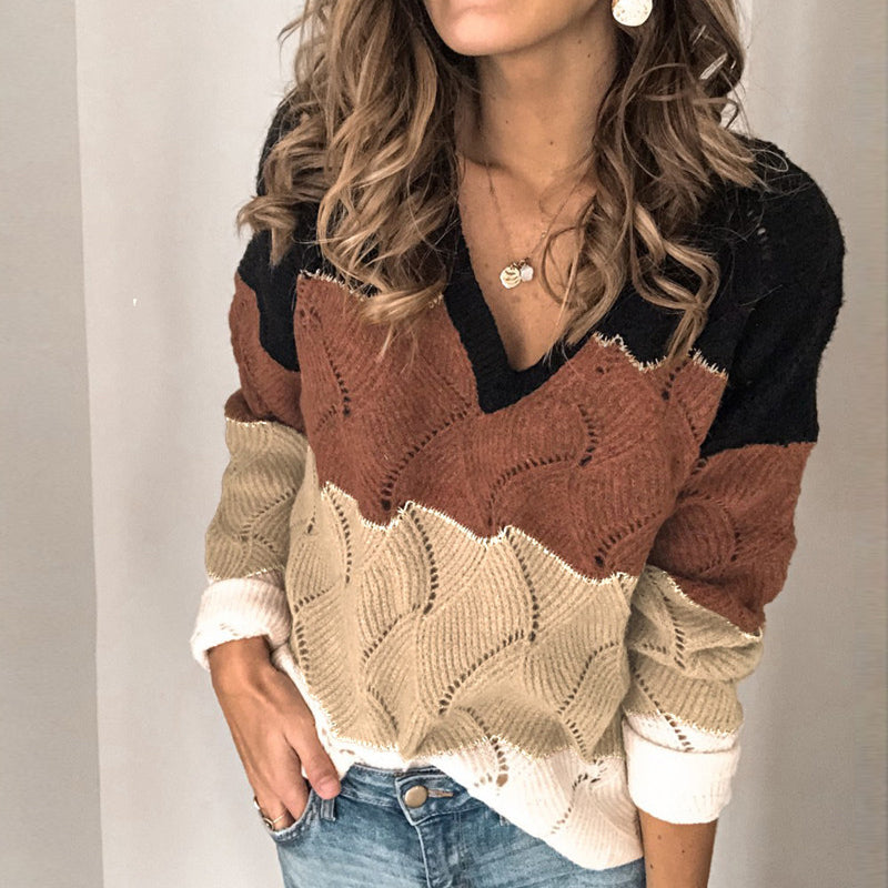 Women's casual color V-neck pullover sweater