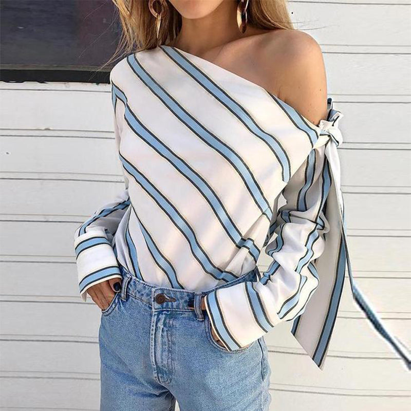 One Shoulder Long Sleeve Bowknot Stripes Blouses