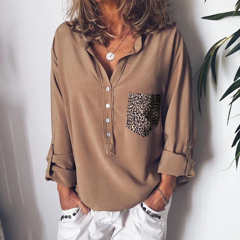 Casual solid color curled sleeves pocket single-breasted shirt
