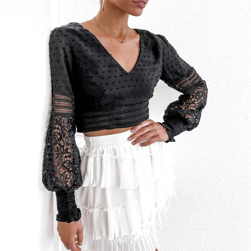Boho Hollow Out Long Sleeve Lace Splicing Short Top