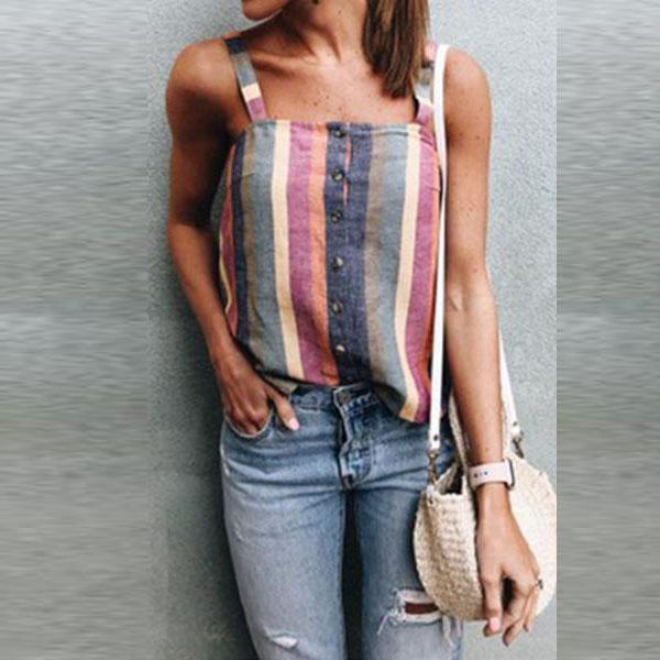 Spaghetti Strap  Single Breasted  Striped Camis